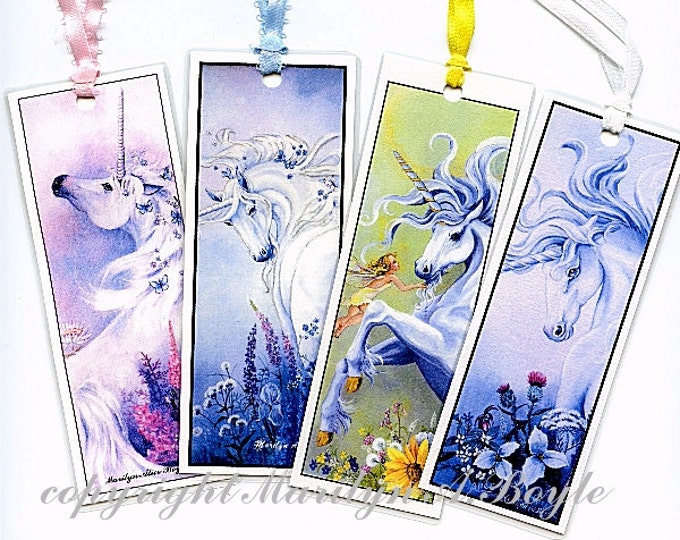 BOOKMARKS - SET of FOUR; unicorns, fantasy, art, reproductions, flowers, fairies, teardrop, for scrapbooking,