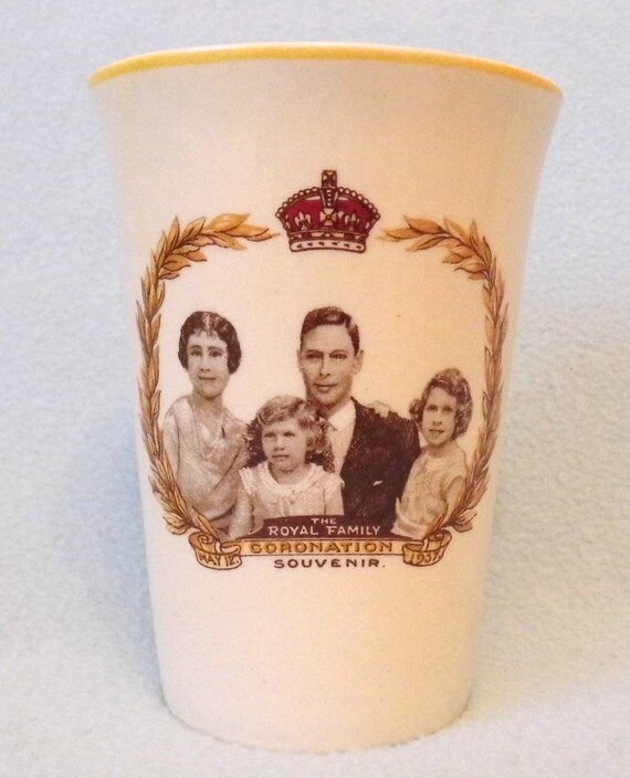Vintage Collectible Beaker, Coronation of King George VI & Queen Elizabeth, 1937, GR, Family Portrait Design, Woods Ivory Ware, Art Deco