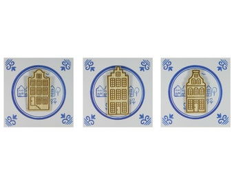 Magnets: Set of 3 Dutch canal houses