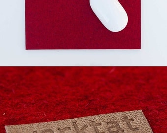 Wohltat WT0813, felt mousepad, merino wool, dark red