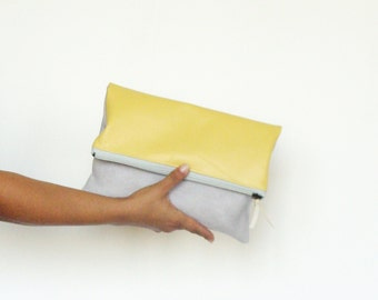 Gray suede and yellow leather foldover clutch bag, summer leather clutch, yellow clutch bag, vegan suede leather bag, colorblock clutch