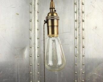 industrial pull chain plug in pendant light antique brass bare bulb socket edison - Edison Bulb Pendant