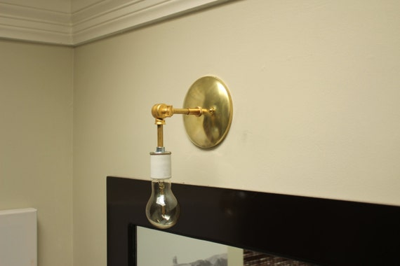 Bathroom Vanity Wall Sconce Gold Brass Mid by IlluminateVintage