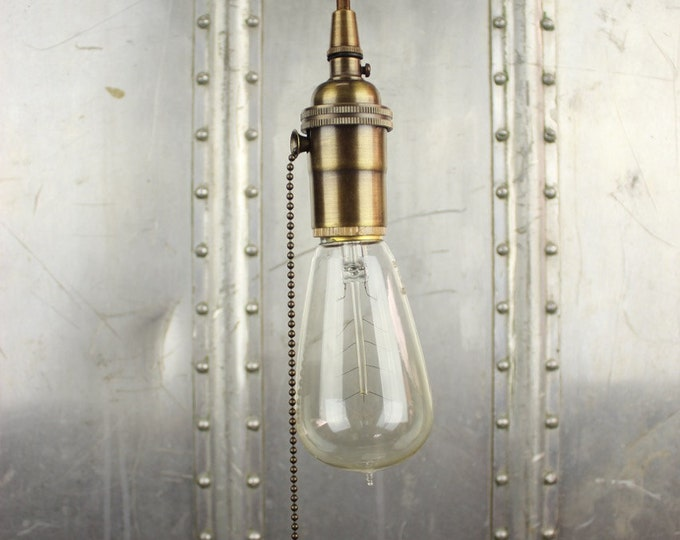 Free Shipping! Industrial Pull Chain Plug In Pendant Light Antique Brass Bare Bulb Socket Edison Bulb Canopy Rayon Cloth Covered Wire