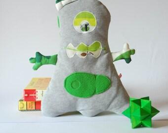 green softie monster toy, plushie monster, stuffed children puppet
