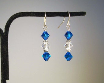 Blue Earrings, Crystal Earrings, Swarovski Crystal Bicone Earrings, Clear Crystal Earrings, Red Crystal Earrings, Swarovski Earrings