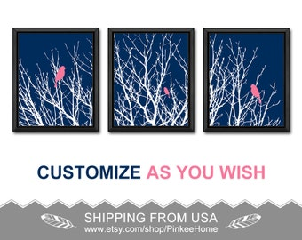 navy and pink birds on branches wall art nature wall art birds in tree modern art prints bird on twig art prints love birds in a tree trio