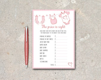 The Price is right Baby Shower Game Printable, Baby Shower Price is Right, Pink Girl Baby Shower Games, Printable Price is Right