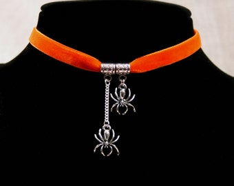Handcrafted  'Incy Wincy Spider' Choker. Two tiny Tibetan silver spiders on an Orange, Wine, Black, Green, Purple, or Brown velvet ribbon.