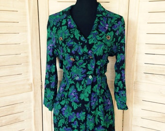 Floral Playsuit 1980's Blue and Purple Small Size