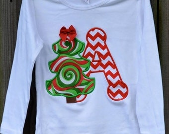 Christmas Tree with Initial Applique Shirt or Onesie Boy or Girl Choose your color!