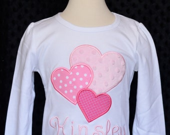 Personalized Valentine's Triple Three Heart  Applique Shirt or Onesie Girl or Boy