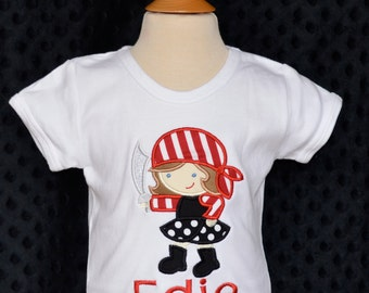 Personalized Girly Pirate Applique Shirt or Onesie Girl