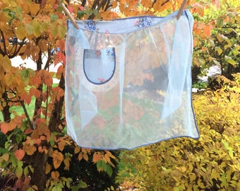 Vintage Blue Organdy Half Apron With Cotton Print Pocket and Waist Band