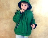 Hooded Dragon Fleece Jacket, green fleece lined in natural cotton jersey, green sweather.  Made to order