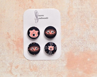 Auburn fabric button magnets