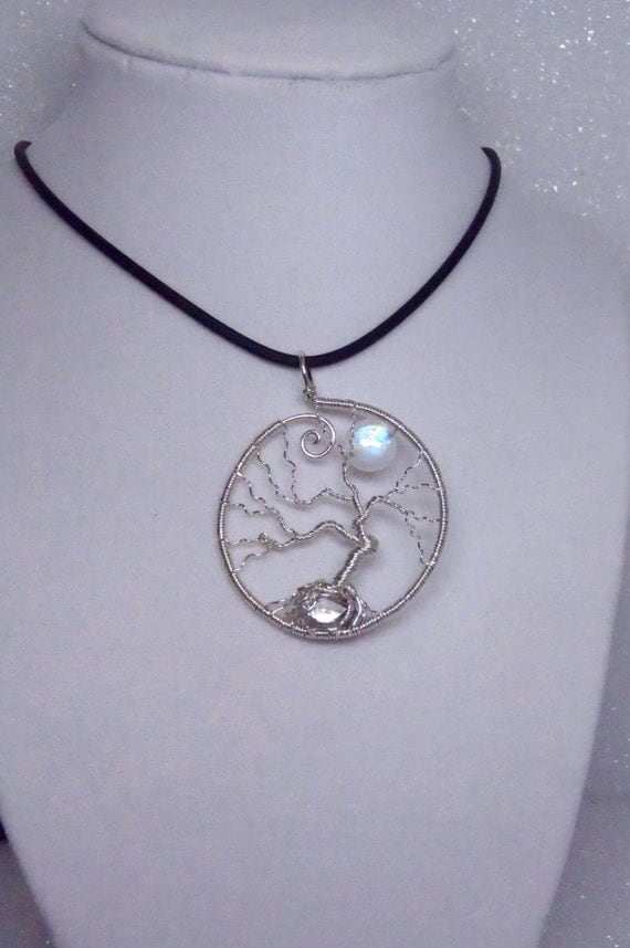 Tree-of-Life Necklace | Full Moon Pendant | Sterling Silver Tree-of-Life Wire Pendant | Rainbow Moonstone | Herkimer Diamond | MADE TO ORDER