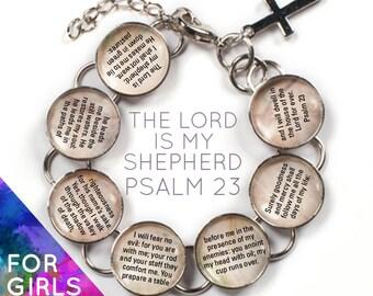 "The Lord is My Shepherd - Psalm 23 Girls Scripture Bible Verse Glass Charm Bracelet, 6-7"""