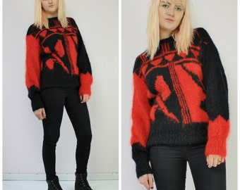 Black & Red Oversized Vintage Graphic Knit Mohair Jumper