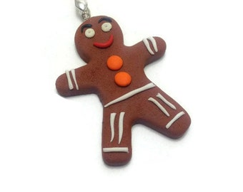Christmas Pendant, Cute Necklace, Holiday Jewelry, Gingerbread, Christmas Jewelry, Food Jewelry, Handmade Pendant, Merry Christmas, Gifts