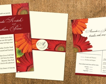 Gerber Daisy Wedding Invitation Set // Bright Fall Brilliance Colors// Rust Orange Gold Copper // Food Choices