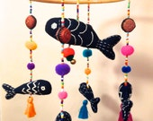 Colorful Aquarium Bohemian Indigo Fish Mobile Hanging/Decoration w hand embroidery, tassels, bell, pom poms, Hmong beads, wood
