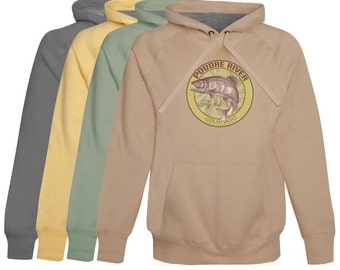 Poudre River Fly Fishing Hoodie / Fleece Colorado - zip up or pullover - Softest Cotton Hoodie Fly Fishing Gift