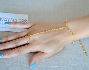 THE AMARA - Gold Hand Jewelry Bracelet Slave Boho Bohemian Gypsy Ring Connected Hand Chain Indian Harem Bracelet Coachella Festival Summer