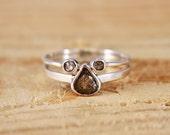 Raw diamond slice ring set with tamboli diamond open ring #diamondswithcharacter