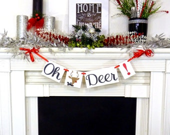Christmas Banner - Oh Deer! - Christmas garland - Merry Christmas Banners Decoration Deer Garland - Chistmas photo prop - Deer Shower Decor