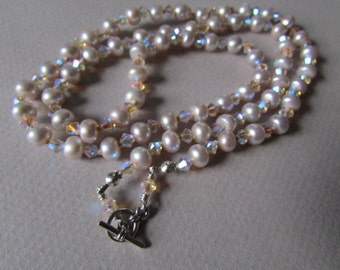 Silver Freshwater Pearl Knotted Necklace with Swarovski Crystal