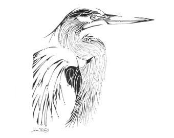 Heron illustration, fine line artwork, black and white, blue heron drawing, wildlife art, bird artwork, nature drawing, great blue heron art