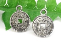 6 Silver Lucky Chinese Coin Charm, Round Asian Symbol Charm 17mm x 13mm C117
