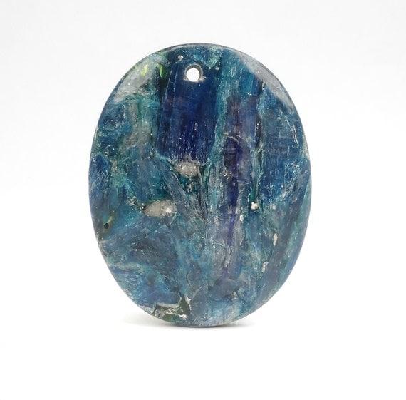 blue apatite pendant blue iridescent oval gemstone focal