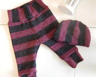 Hip pants for girls/babies, pink/grey wool. legging newborn.