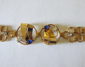 Retro M&S geometric gold filled bracelet with blue and clear rhinestones