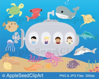 Clip Art Submarine Clip Art submarine clip art etsy ocean animals digital discovery instant download cute kids science scrapbooking