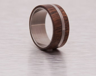 mens wedding band wood ring titanium ring band hawaiian koa ring