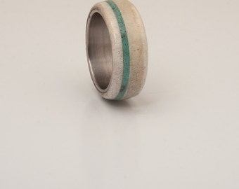 Antler and Turquoise Mens wedding band Titanium Ring SIlver Ring