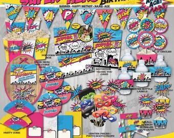 On Sale! Girl SUPERHERO Party Package, Girl SUPERHERO Birthday Party Decorations, Superhero Birthday Package, Super Hero, Superhero Mask