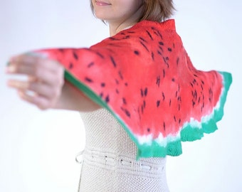 Felt watermelon scarf 15% OFF - sweet fruit scarf hand felted of red wool - designer winter scarf for women and teens, one of a kind [S76]
