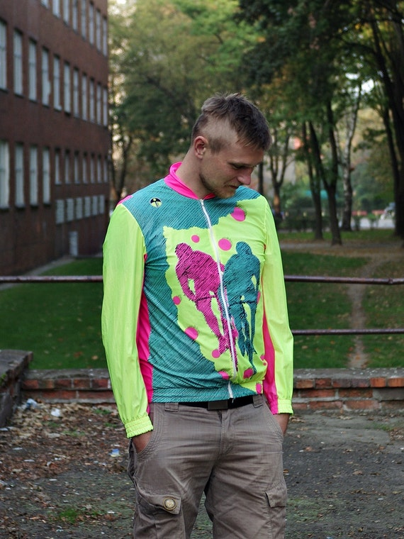 SALE - 80s Giessegi di Si. Fraccaro & C Italy Neon Color Block Cyclist Jacket / Size L