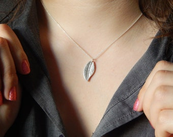 boho feather necklace in fine silver