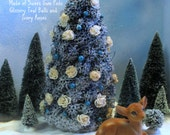 Large Blue Christmas Tree Table Decoration Snow Frosted Tree with Ivory Roses and Teal Glittered Balls