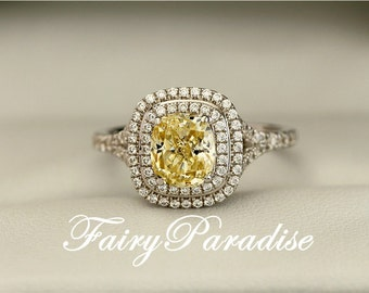 2 Carat Yellow Diamond Double Halo Ring, Rectangle Cushion Cut Engagement  Ring / Promise Rings