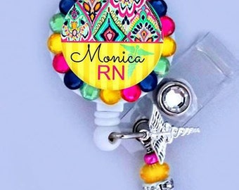 Retractable ID Badge Reel - Personalized Rhinestone Nurse Badge ID Reel - Medical- Can put any Title (E05)