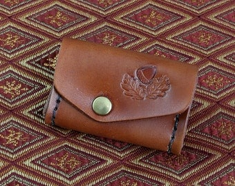 Leather Oak Leaf Change Purse / Money Pouch