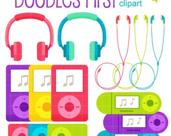 Music on the Go MP3 Digital Clip Art for Scrapbooking Card Making Cupcake Toppers Paper Crafts