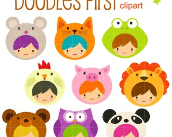 Animal Hoodies Digital Clip Art for Scrapbooking Card Making Cupcake Toppers Paper Crafts