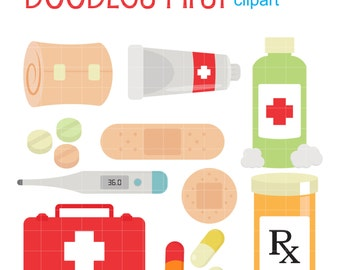 First Aid Kit Digital Clip Art for Scrapbooking Card Making Cupcake Toppers Paper Crafts